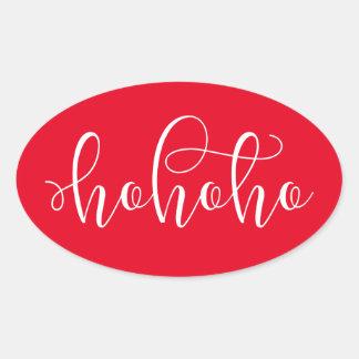 HoHoHo White Script Oval Sticker