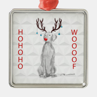 HOHOHOWOOOF WEIMARANER ORNAMENT