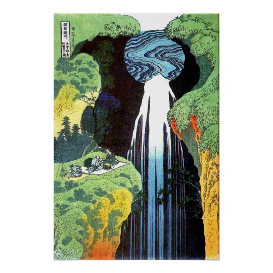 Hokusai: Amida waterfall on the Kiso Road Poster