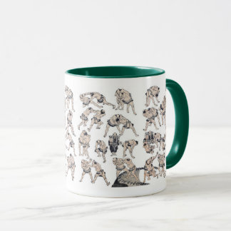 Hokusai and Image of Sumo wrestlers Mug