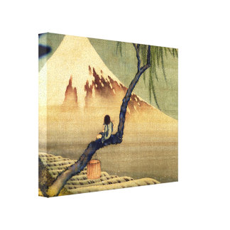 Hokusai Boy Viewing Mount Fuji Japanese Vintage Canvas Print