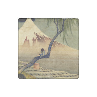 Hokusai Boy Viewing Mount Fuji Japanese Vintage Stone Magnets