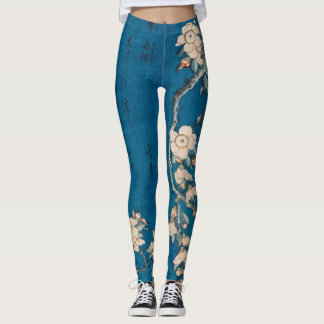 Hokusai Bullfinch and Weeping Cherry GalleryHD Leggings
