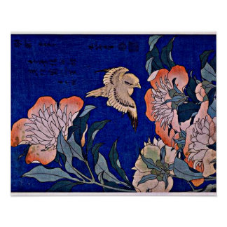 Hokusai: Canary and Peony Poster