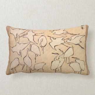 Hokusai Crane Lumbar Pillow