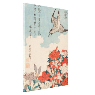 Hokusai Cuckoo and Azaleas Vintage Art GalleryHD Canvas Print