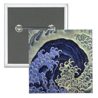 Hokusai Feminine Wave 2 Inch Square Button