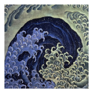 Hokusai Feminine Wave Poster