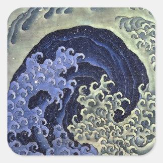 Hokusai Feminine Wave Square Stickers