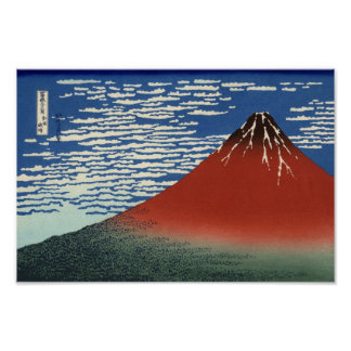 Hokusai 'Fine Wind, Clear Morning' Poster