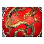 Hokusai Gold Japanese Dragon Postcard