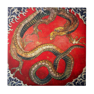 Hokusai Gold Japanese Dragon Tile