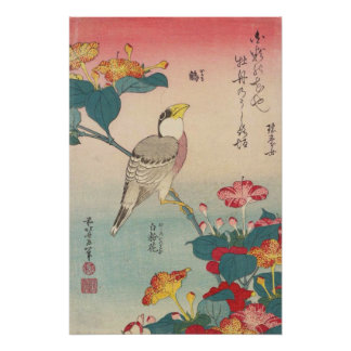Hokusai Hawfinch and Marvel-of-Peru GalleryHD Perfect Poster