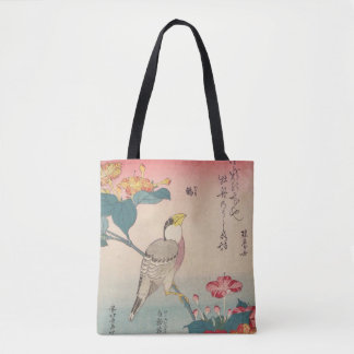 Hokusai Hawfinch and Marvel-of-Peru GalleryHD Tote Bag