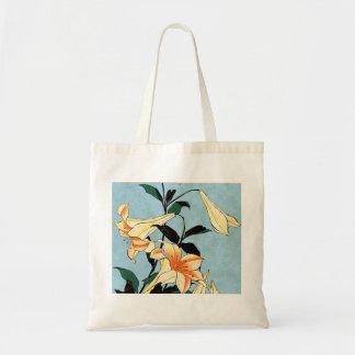 Hokusai Japanese Lilies Tote Bag