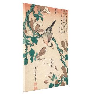 Hokusai Java Sparrow on Magnolia GalleryHD Art Canvas Print