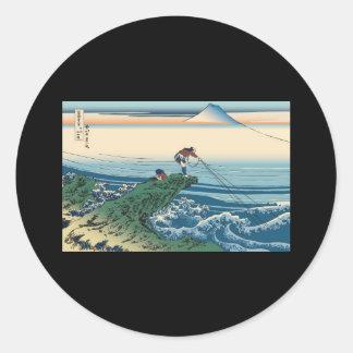Hokusai Kajikazawa in Kai Province Round Stickers