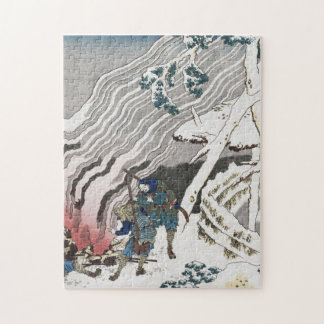 Hokusai Katsushika - Hunters By A Fire In The Snow Jigsaw Puzzle