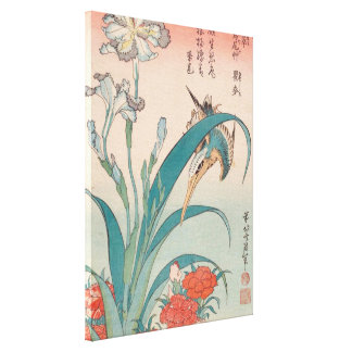Hokusai Kingfisher Iris and Wild Pinks GalleryHD Canvas Print