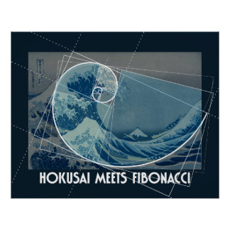 Hokusai Meets Fibonacci, Golden Ratio #2 Poster