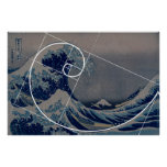 Hokusai Meets Fibonacci, Golden Ratio Poster