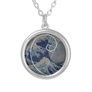 Hokusai Meets Fibonacci, Golden Ratio Silver Plated Necklace