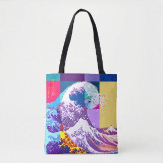 Hokusai Meets Fibonacci, Pop Art Style Tote Bag