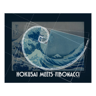 Hokusai Meets Fibonacci with Numerical Sequence Poster