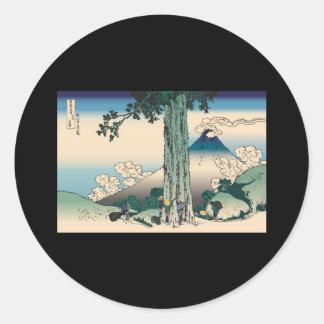 Hokusai Mishima Pass in Kai Province Round Sticker