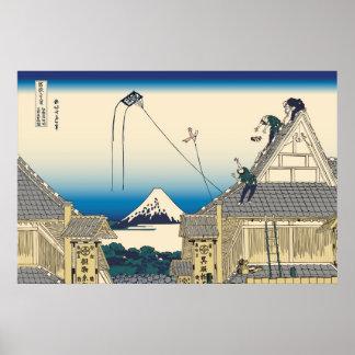 Hokusai Mitsui shop in Suruga in Edo Poster