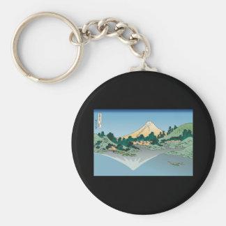 Hokusai Mount Fuji reflects in Lake Kawaguchi Keychain
