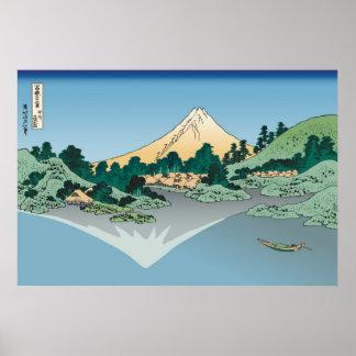 Hokusai Mount Fuji reflects in Lake Kawaguchi Print