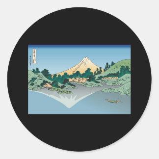 Hokusai Mount Fuji reflects in Lake Kawaguchi Round Sticker
