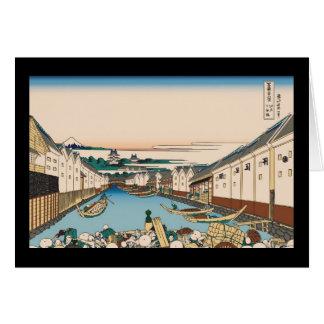 Hokusai Nihonbashi bridge in Edo Greeting Card