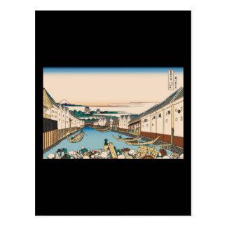 Hokusai Nihonbashi bridge in Edo Postcard