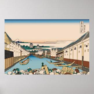 Hokusai Nihonbashi bridge in Edo Print