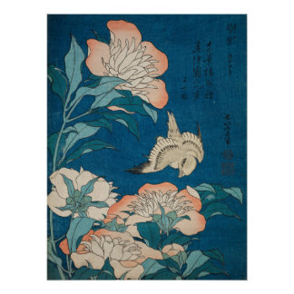 Hokusai Peonies and Canary Vintage GalleryHD Perfect Poster
