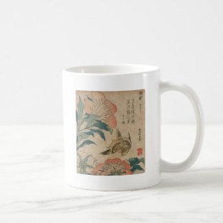 Hokusai Peony and Canary Coffee Mug
