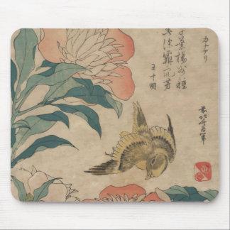 Hokusai Peony and Canary Mouse Pads