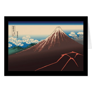 Hokusai Rainstorm Beneath the Summit Greeting Cards