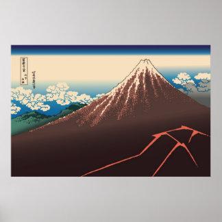 Hokusai Rainstorm Beneath the Summit Poster