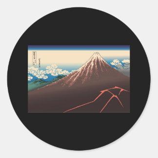 Hokusai Rainstorm Beneath the Summit Round Sticker