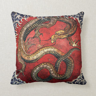 Hokusai Red Dragon Throw Pillow
