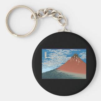 Hokusai Red Fuji Basic Round Button Keychain