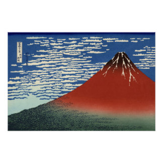 Hokusai Red Fuji South Wind Clear Sky GalleryHD Perfect Poster