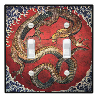 Hokusai Red Water Dragon Light Switch Cover