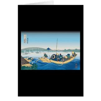 Hokusai Ryogoku Bridge Card