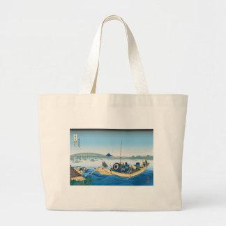 Hokusai Ryogoku Bridge Tote Bags
