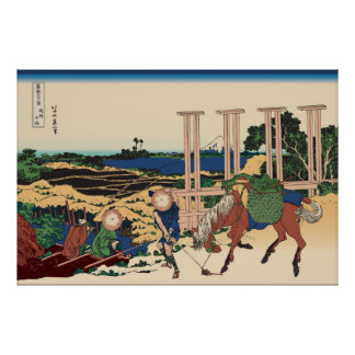 Hokusai Senju Musashi Province Poster