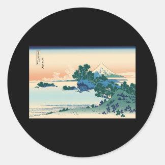 Hokusai Shichiri beach in Sagami Province Round Sticker